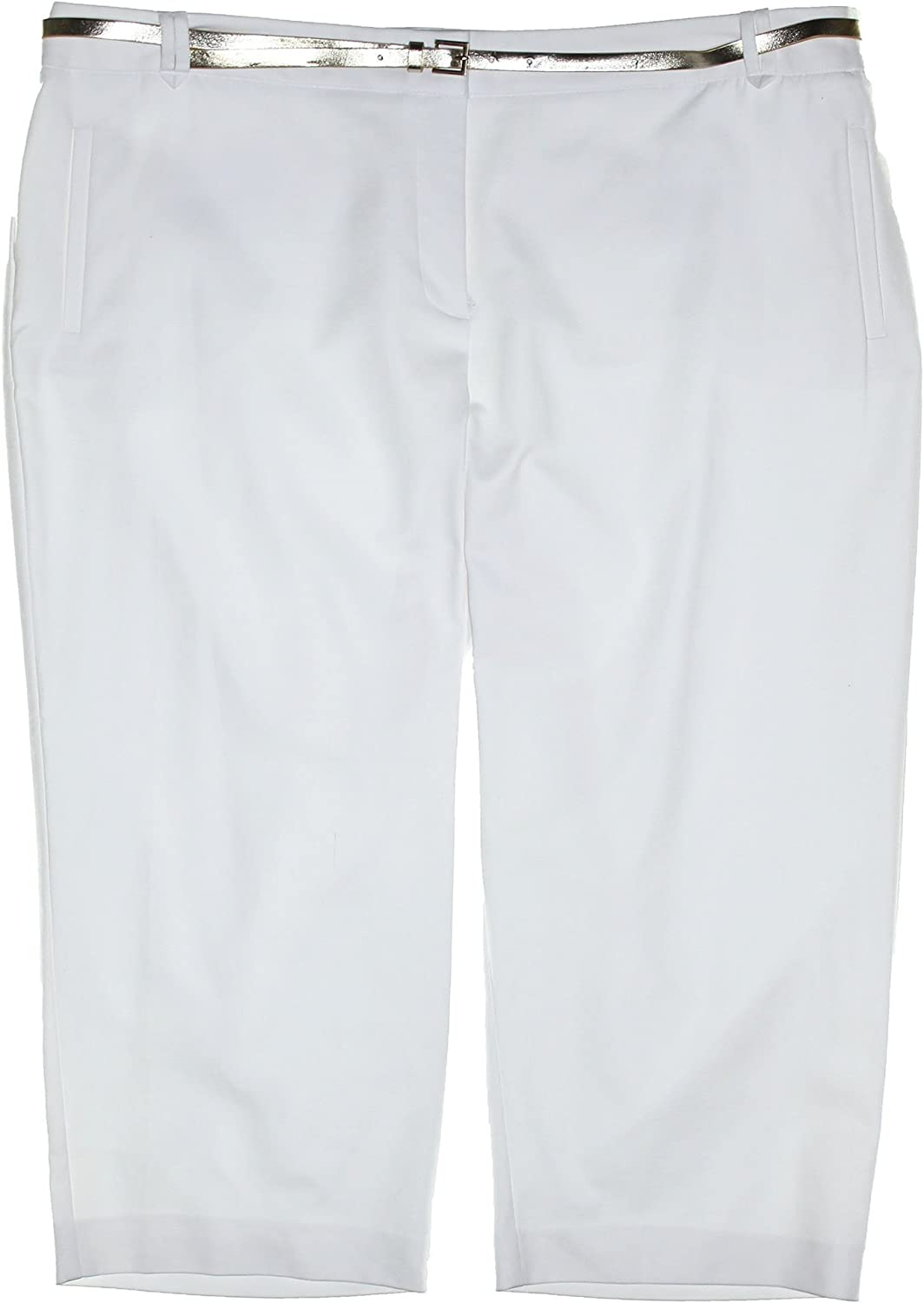 Charter Club Womens Plus Size Tummy Slimming Belted Capri Pants 24w White