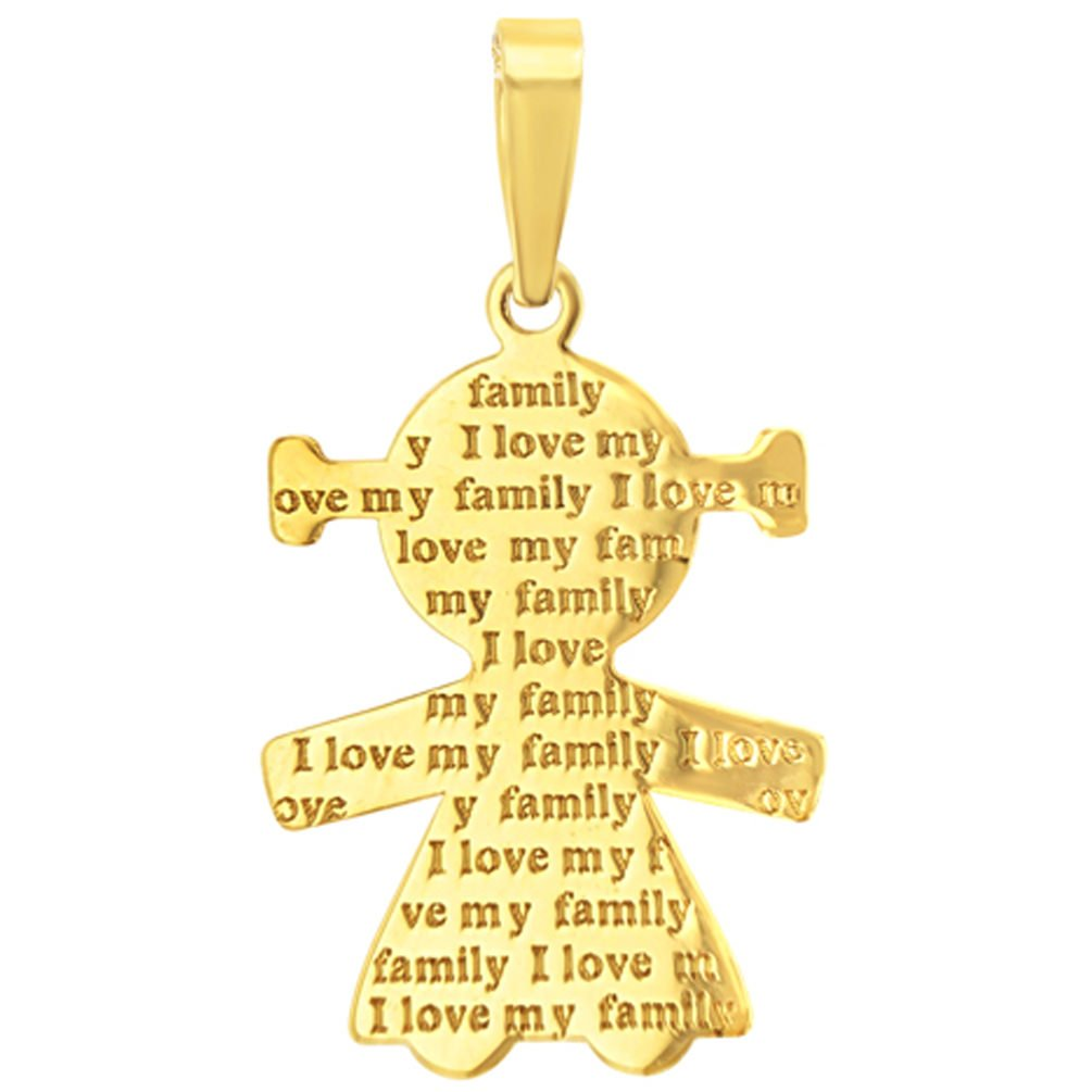 14K Yellow Gold Little Girl Charm with I Love My Family Engraved Script Pendant Figaro Chain Necklace
