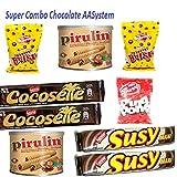Combo pack chocolate 2 Latas de Pirulin 300 gr + 2 Cocosette 50 gr + 2 Susy 50 gr + 2 Bolero 150grs + 1 Ping Pong 150grs ( Savoy Nucita nestle )