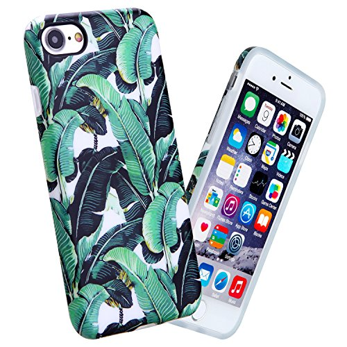 iPhone 7 Case, 4.7 Inch Slim Shockproof Matte Pattern Soft Flexible TPU Case For Apple iPhone 7, Green Banana Leaf