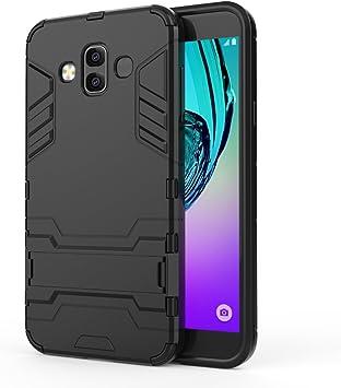 DAYNEW Funda para Samsung Galaxy J6 Plus,Robusto y Durable Ultra Delgado Stent Hard Shell Mezcla a Prueba de Golpes Armor Protection Cover para Samsung Galaxy J6 Plus-Negro: Amazon.es: Electrónica