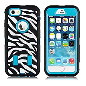 Cases for iphone 6 ROKE? High Quality Zebra Armor Protective Silicone 2 in 1 Carrying Case Shockproof and Drop Resistance Protective Case for Apple iPhone 6 (4.7 Inch) - Blue