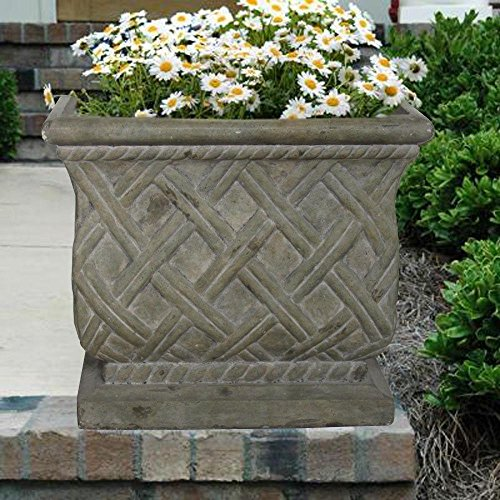 (18 in. Square Old Stone Cast Stone Lattice Planter)