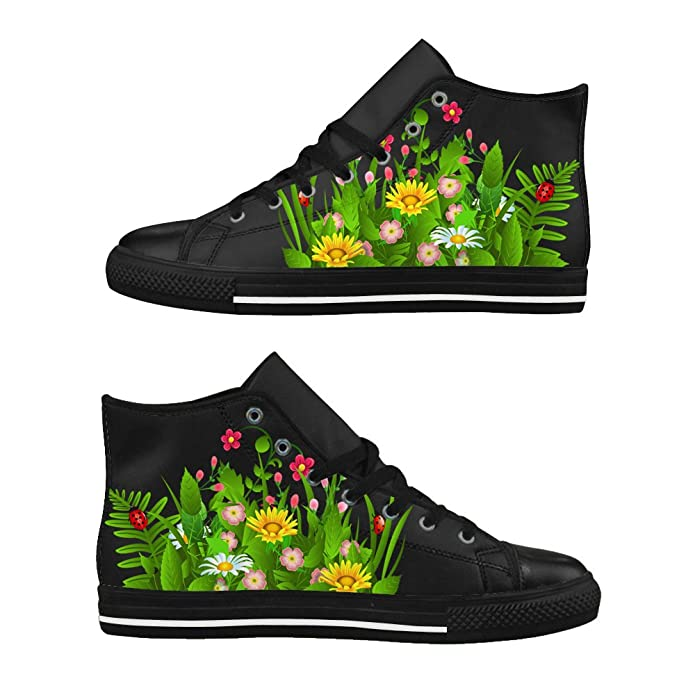 07fc686e7dea Custom Men s High Top Shoes Personalized Image Funny Flowers and grass Print  Leather Sneaker Fashion Black US12  Amazon.co.uk  Shoes   Bags