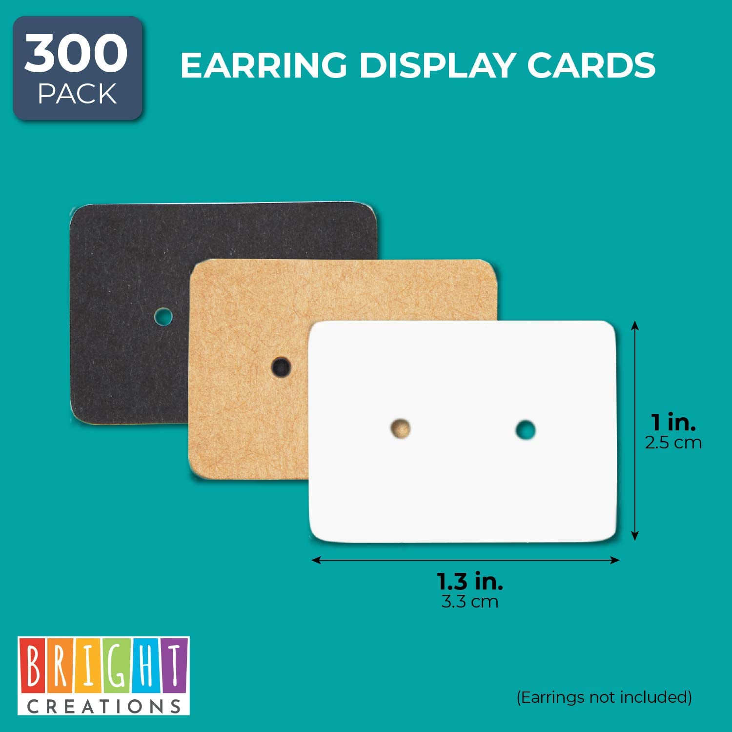 Rectangle, 300 Pack Bright Creations Earring Cards for Display