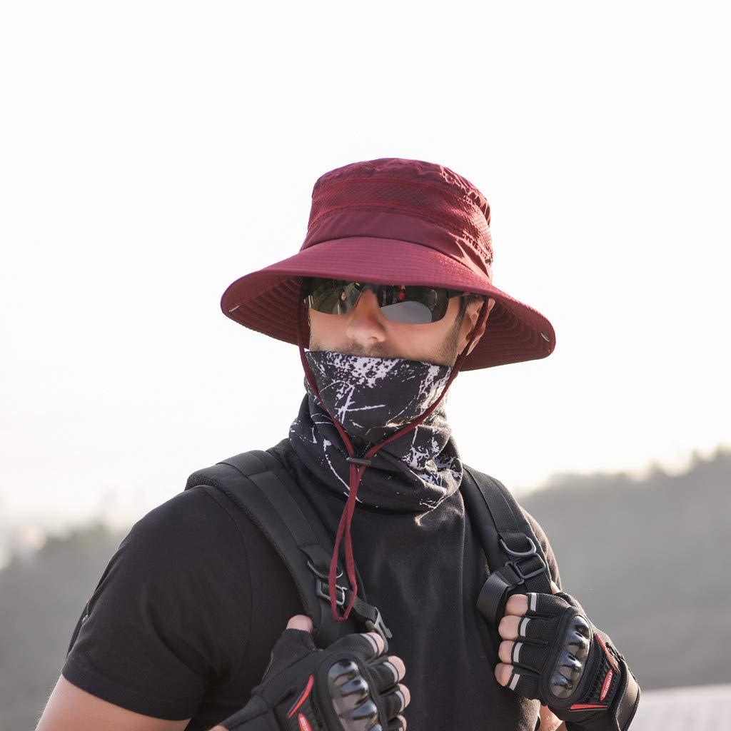 Sruiluo Fishing Cap Summer Outdoor Solid Protection Bucket Mesh Adjustable Hat 6 Color