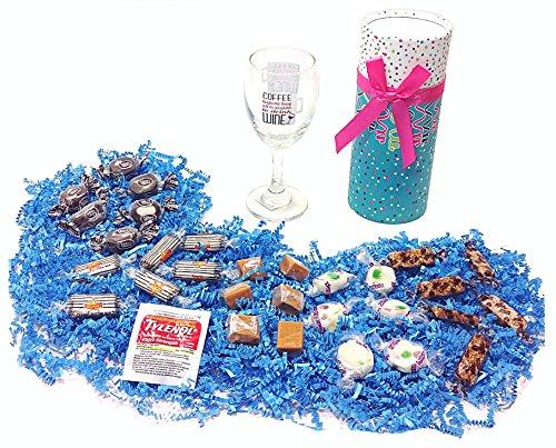Coffee & Wine Drinkers Birthday Humorous Gift Pack - Classic Candy Assortment, Wine Glass & Tylenol