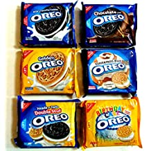 OREO COOKIES Ultimate WINTER VARIETY PACK: 1 pack of: CINNAMON BUN, BIRTHDAY CAKE FLAVORED CREAM, ORIGINAL, HEADS OR TAILS DOUBLE STUFF, CHOCOLATE CREAM, GOLDEN