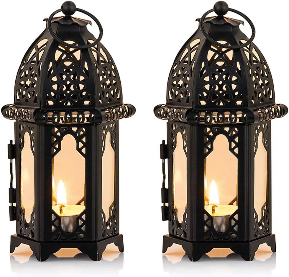 Nuptio 2 Pcs Metal Tealight Candle Holder Small Sized Wedding Centerpieces Transparent Glass Hanging Lanterns Creative Wedding Home Table Decoration Birdcage, Black