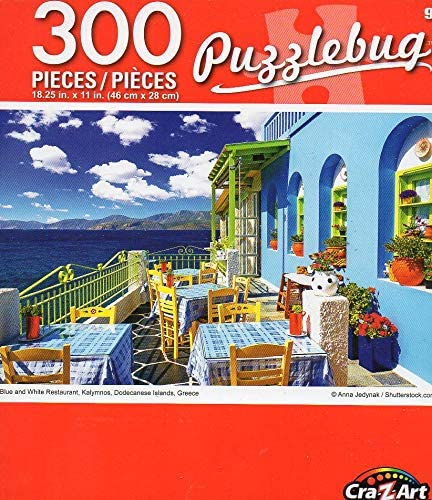 Greece 300 Piece Jigsaw Puzzle Puzzlebug Dodecanese Islands Kalymnos Cra-Z-Art Blue and White Restaurant