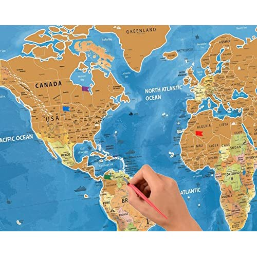 Scratch Off World Travel Map Tracker USA States Interactive - Interactive travel map of usa