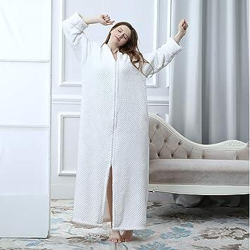 KXIN Bata De La Mujer Acolchada con Franela, Pijama Casero Cálido con Cremallera, Chaqueta De Punto De Invierno,3,XL: Amazon.es: Hogar