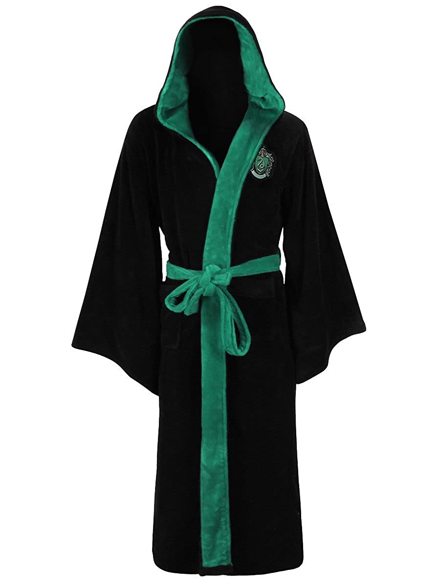 Official Harry Potter Hogwarts Slytherin Crest Detail Soft Fleece Dressing Gown Abysse Corp_TEXGRO002
