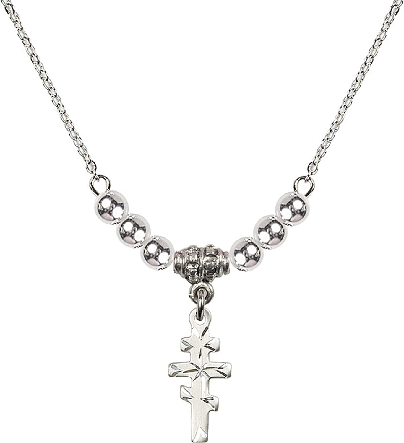 Bonyak Jewelry 18 Inch Rhodium Plated Necklace w// 4mm Sterling Silver Beads and Greek Orthadox Cross Charm