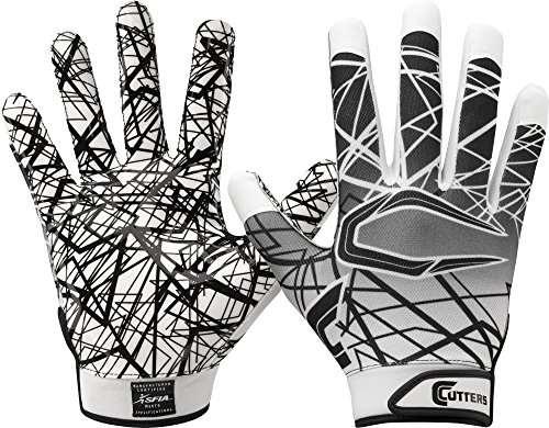 Cutters Gloves S150 Game Day Receiver Gloves, White, Large Cutters Football Receiver Glove