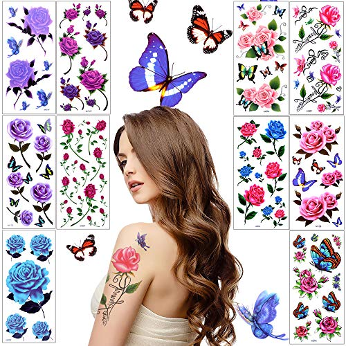 c12dca1dd161d Lady Up Flower Temporary Tattoos Stickers for Women Teens Girls Kid 10  Sheets Muti-Colored Waterproof Roses Butterflies Body Art (90×190mm)