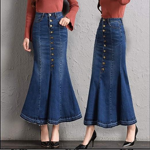 Tallas grandes Ajuste 9XL Faldas de mezclilla de moda para mujer ...