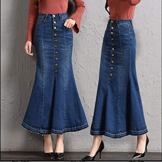 Tallas grandes Fit 9XL Faldas de mezclilla de moda para mujer ...