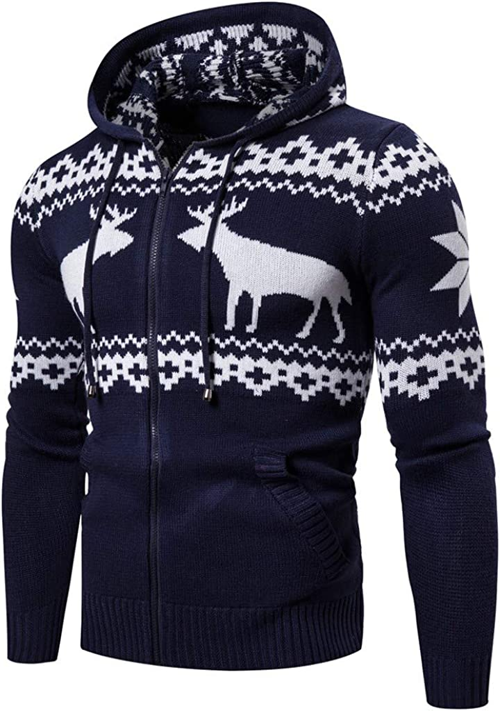 Christmas Hooded Zipper Long Sleeve Knit Elk Print Sweater,Beautyfine Casual Solid Color Ugly Xmas Pullover