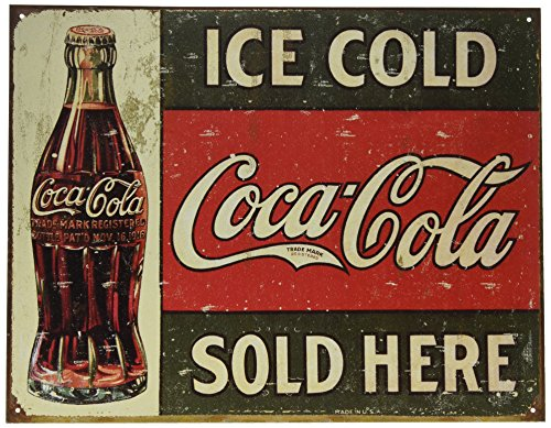 (Poster Revolution Ice Cold Coca Cola Coke Sold Here 1916 Distressed Retro Vintage Tin)