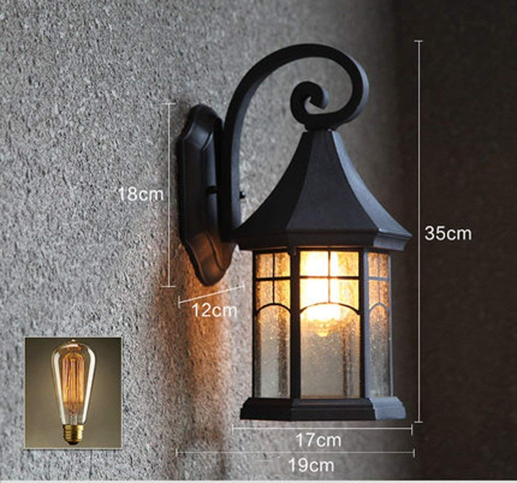 Lampada da parete retrò impermeabile europeo luci da giardino balcone americana scalinata Lampada da parete fashion (colore   D)