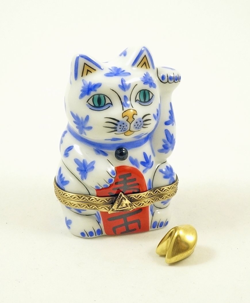 Authentic French Porcelain Hand Painted Limoges Box Japanese Lucky Cat with Removable Fortune Cookie Symbol of Good Fortune Maneki-Neko Good Luck