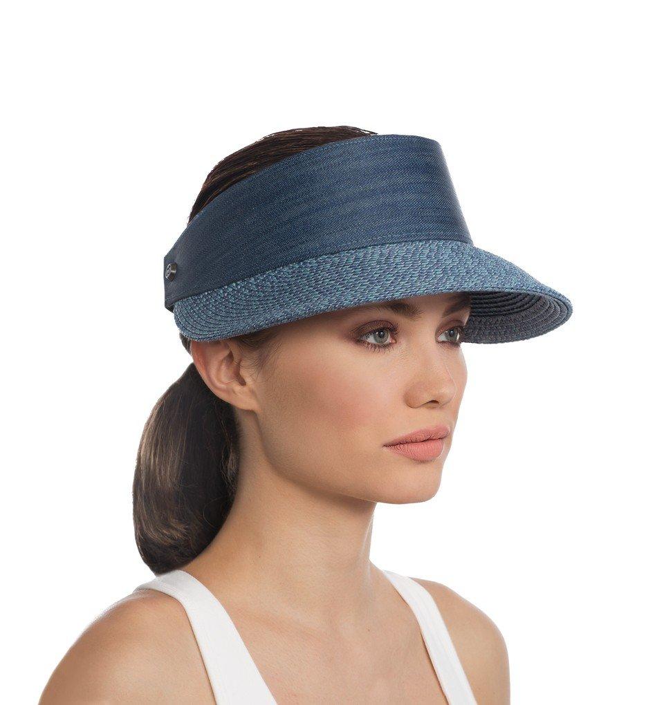 Eric Javits Luxury Fashion Designer Women's Headwear Hat - Champ - Denim