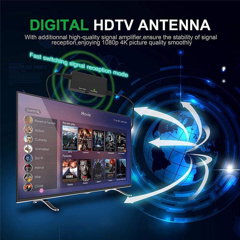 xiliary puerta Antena de TV digital Fibra de carbono profesional 180 millas 4K HD Freeview Life Canales locales Todo tipo Interruptor de televisión Amplificador Amplificador de señal para normal: Amazon.es: Hogar