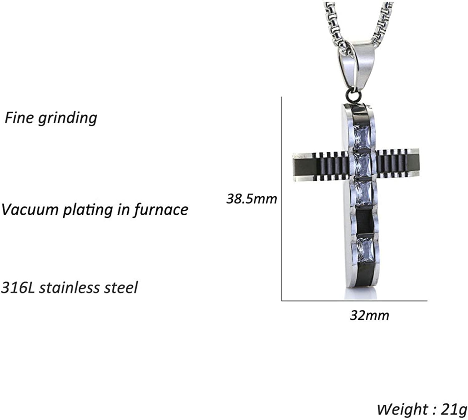 Bonyak Jewelry Stainless Steel Brushed and Polished Black IP-Plated Cross with CZ Neckla in Stainless Steel