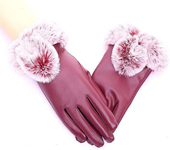 Youngate Mens Winter Faux Leather PU Gloves Windbproof Cycling Driving Gloves