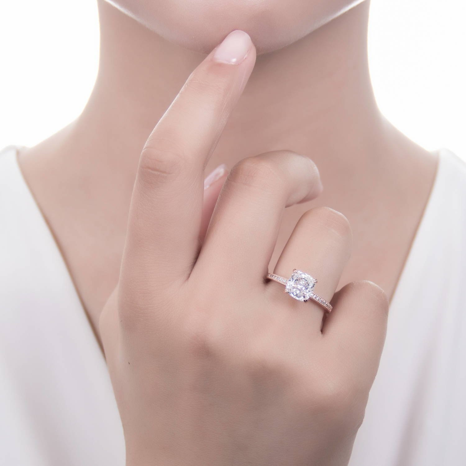 BERRICLE Rose Gold Plated Sterling Silver Cushion Cut Cubic Zirconia ...