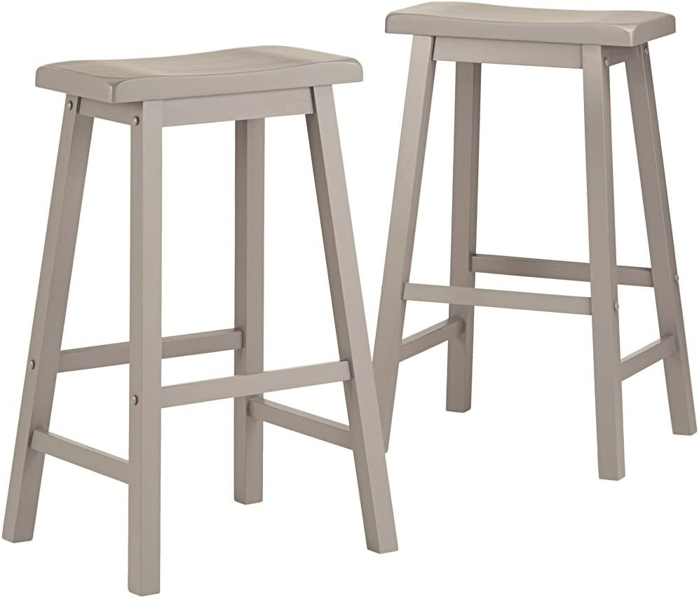 Salvador Saddle Back Bar Height Stool Counter Height 29 Inch Dining Set Of 2 Grey Kitchen Dining