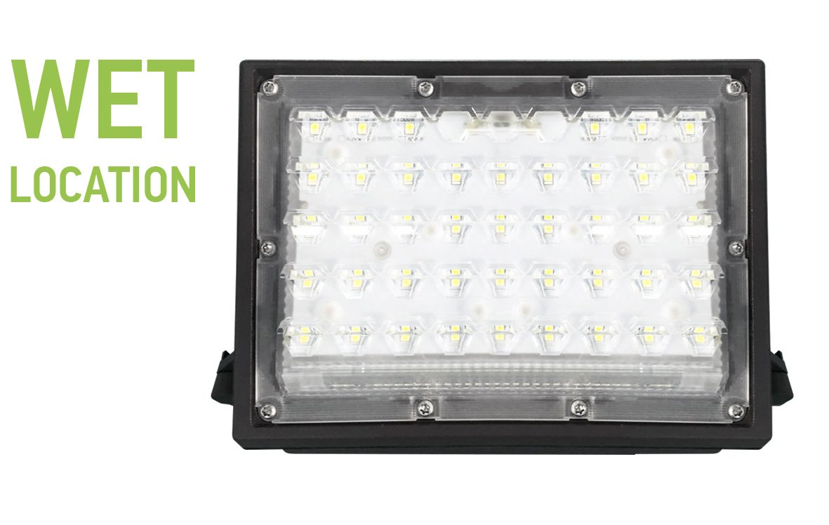 ASD LED Wall Pack Light with optic lens, 28W, 4000K (Crystal White Glow), Premium, 120 lm/w, 100-277V, Bronze
