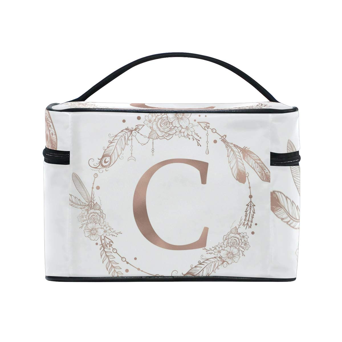 Letter C Initial Monogram Cosmetic Bags Organizer- Travel Makeup Pouch Ladies Toiletry Train Case for Women Girls, CoTime Black Zipper and Flat Bottom