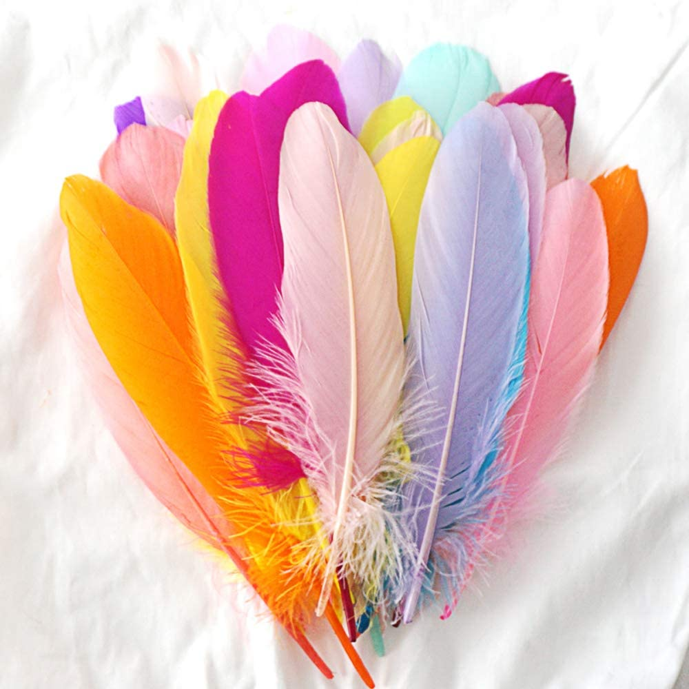 Wedding Home Party Decorations 450 Pcs Colorful Feathers Crafts for DIY Craft,Jewelry Making Random Color