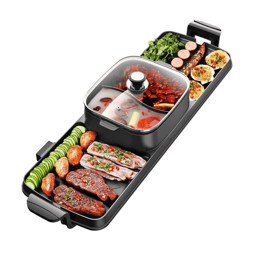 YJIUJIU BBQ Grill and Hot Pot,Multi-Function Barbecue Hot Pot Double Pot Electric Grill Home Electric Baking Tray Korean Style Dual Control