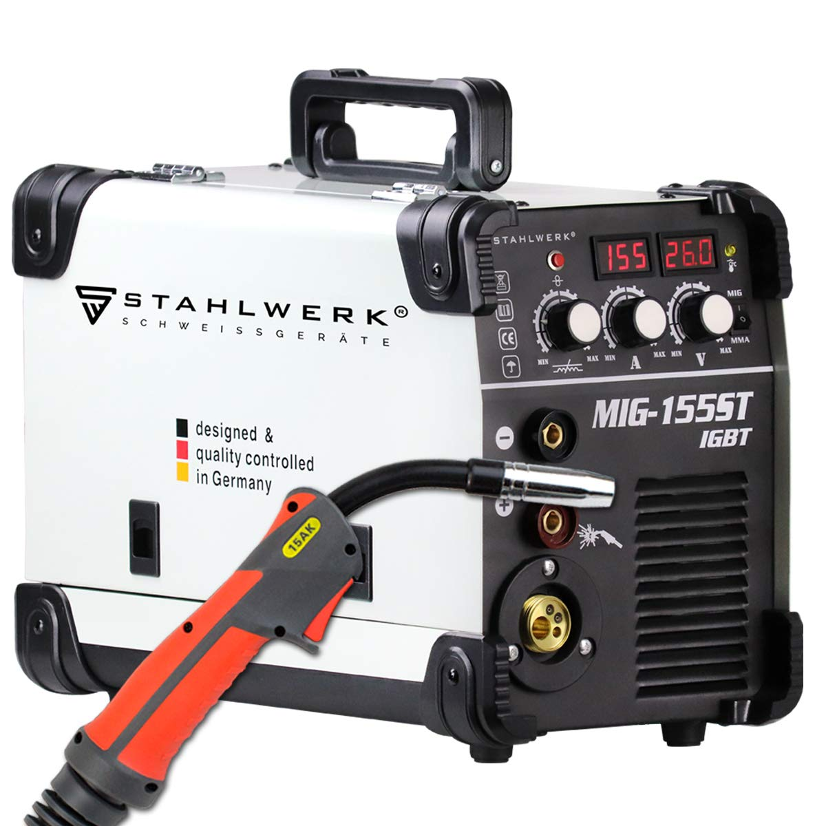 STAHLWERK MIG 155 ST IGBT Equipo de soldadura de gas de protección MIG MAG con 155 A, hilo tubular FLUX adecuado, con MMA E-Hand, 7 años de garantía