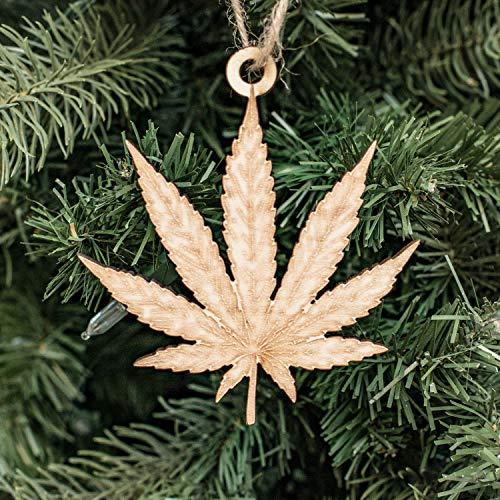 Ornament - Pot Leaf - Raw Wood 3x4in