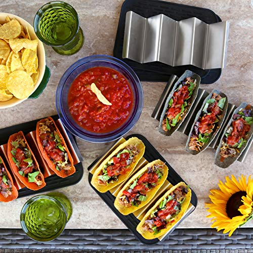 Premium stainless steel taco holder with placement mat by Verione Inc (Image #5)