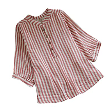 8c9d1a9b548 ADESHOP Autumn Pullover Blouse for Teen Girls, Womens Casual Striped Loose  Tunic Button Down Long Sleeve Linen Shirt Top Blouse: Amazon.co.uk: Clothing