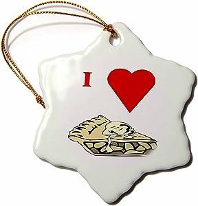 3dRose LLC ORN_60654_1 Porcelain Snowflake Ornament, 3-Inch, Love Apple Pie