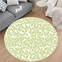 Nalahome Modern Flannel Microfiber Non-Slip Machine Washable Round Area Rug-lor Green Tea Leaves And Branches Lines And Patterns Contemporary Illustration Green Ecru area rugs Home Decor-Round 71