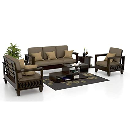 Mv Furniture Solid Sheesham Wood Wooden 6 Seater Sofa Set For Living Room 3 2 1 Sofa Set With Grey Cushions Walnut Finish