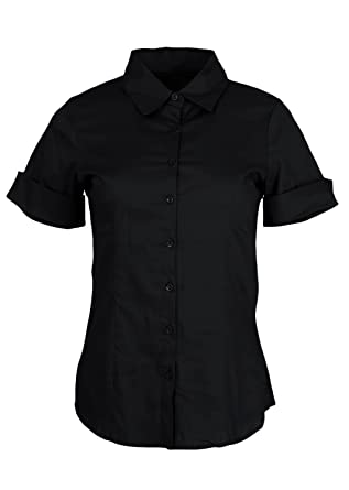 Ladies Cuffed Short Sleeve Button-Up Dress Shirt, Multiple Colors ...