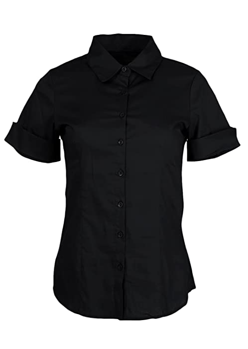 Ladies Black Cuffed Short Sleeve Button-Up Dress Shirt at Amazon ...