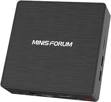 MINIS FORUM Mini PC de sobremesa Intel Pentium J3710 Quad Core CPU 4 GB DDR / 128 GB SSD Mini Ordenador de sobremesa con Windows 10, HDMI y VGA, Dual ...