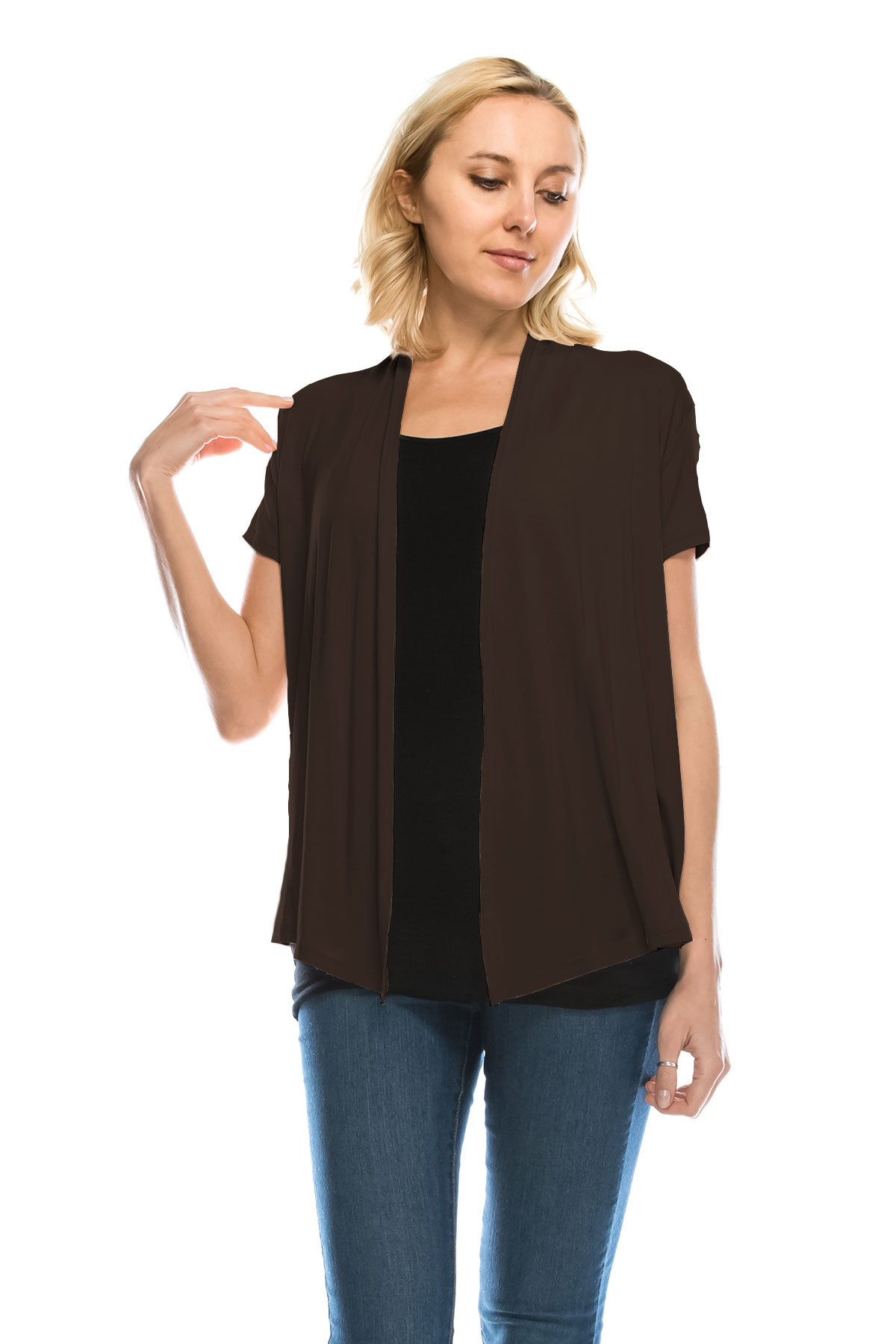 J Doe Style Women's Soft Drape Cardigan Short Sleeve Made In USA(Size :S-5X), L, Brown by J Doe Style