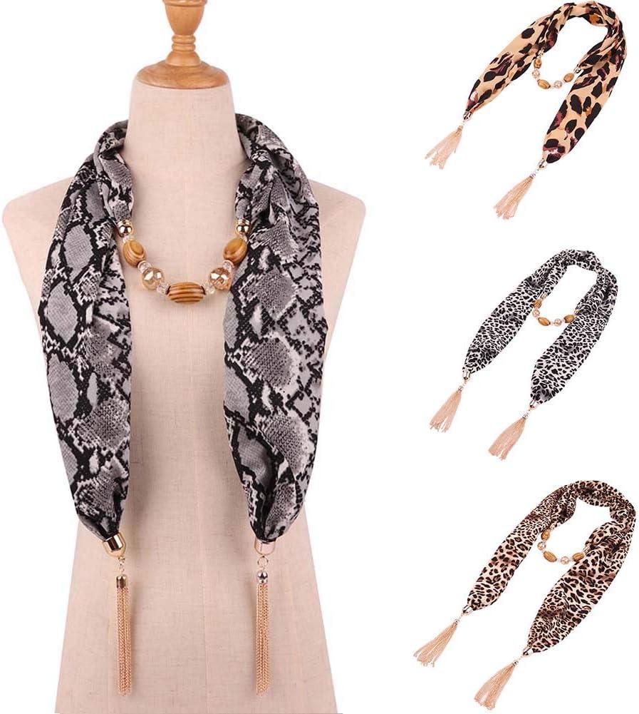 IWEING Scarf Women Snake Leopard Print Beads Tassel Pendant Necklace Chiffon Shawl 2#