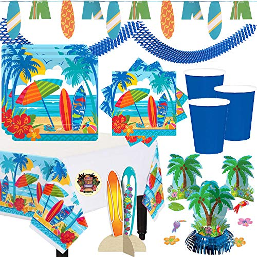 (Surf's Up Summer Beach Party Supplies and Decorations Pack For 36 Guests With Plates, Napkins, Cups, Tablecover, Surfboard Banner and Center Piece, Palm Tree Centerpiece, Blue Garland and Pin)