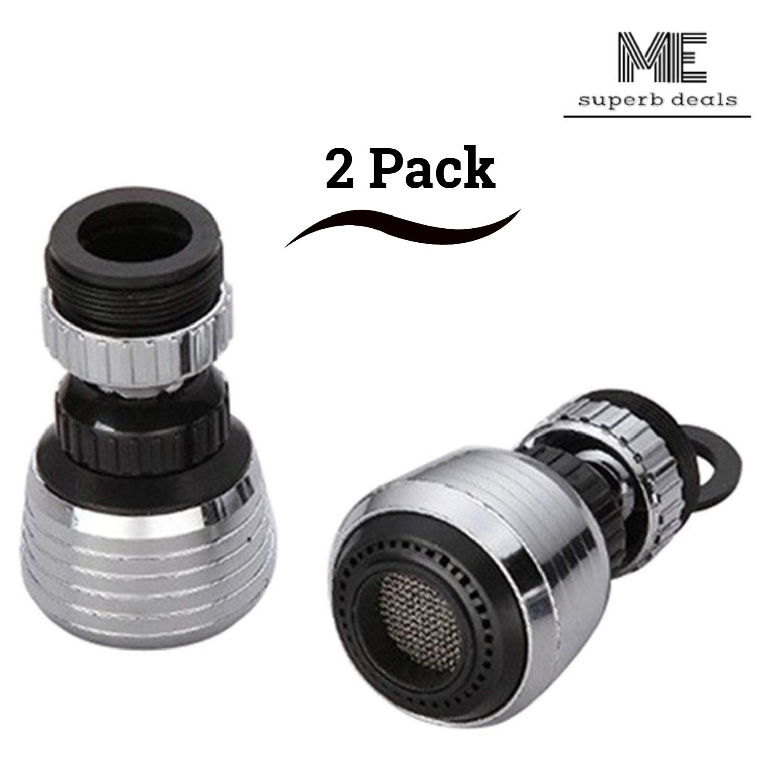 Kitchen Water Saver Tap 360 Rotate Swivel Faucet Nozzle Filter Adapter for Restaurant, Home & Hotel - 2 Pack